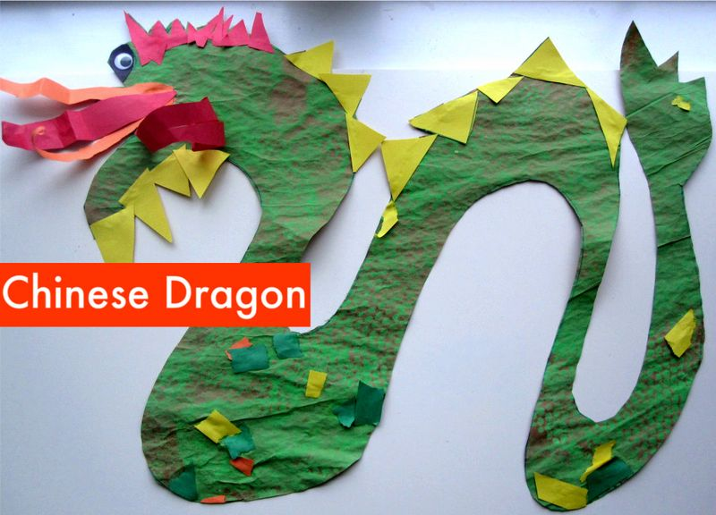 Paint-and-collage-Chinese-Dragon